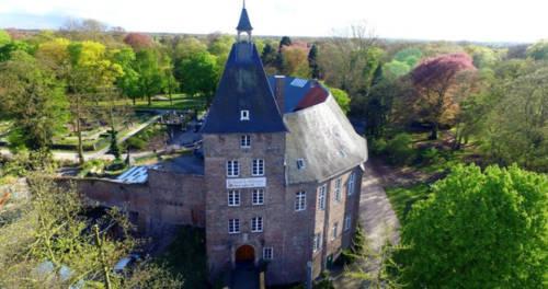 Das Moerser Schloss aus der Vogelperspektive