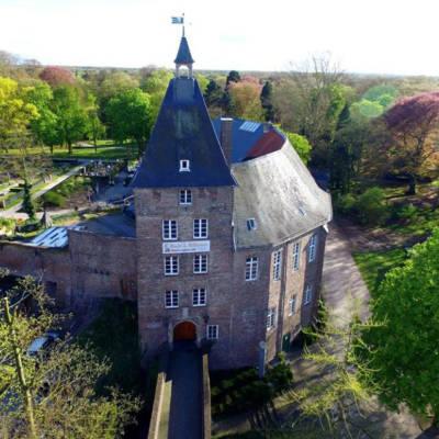 Moerser Schloss aus der Vogelperspektive