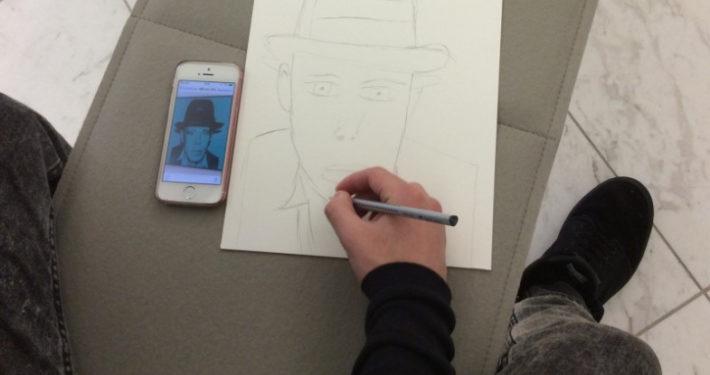 Anfertigung eines Portraits von Joseph Beuys im Museum Schloss Moyland