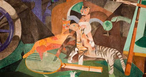 Tiere abgebildet in einem Kunstwerk