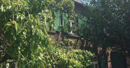 rotes Backsteinhaus mit Bäumen